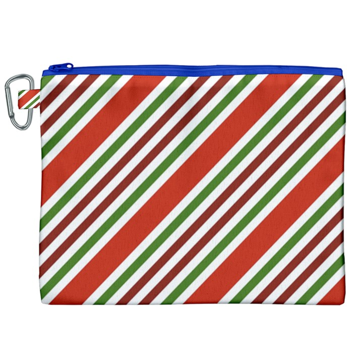Christmas Color Stripes Canvas Cosmetic Bag (XXL)
