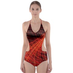 A Christmas Light Painting Cut Out One Piece Swimsuit