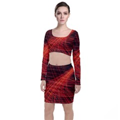 A Christmas Light Painting Long Sleeve Crop Top & Bodycon Skirt Set by Celenk