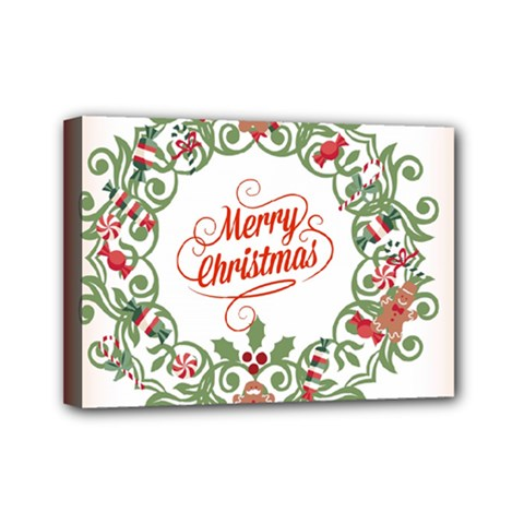 Merry Christmas Wreath Mini Canvas 7  X 5