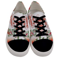 Merry Christmas Wreath Men s Low Top Canvas Sneakers