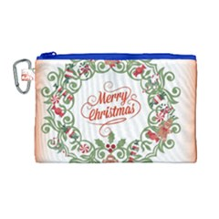Merry Christmas Wreath Canvas Cosmetic Bag (large)