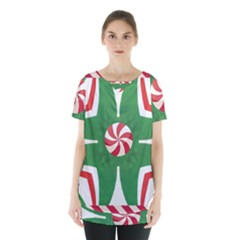 Candy Cane Kaleidoscope Skirt Hem Sports Top