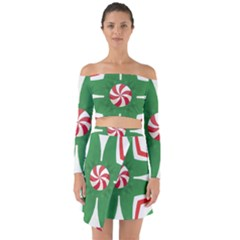 Candy Cane Kaleidoscope Off Shoulder Top With Skirt Set