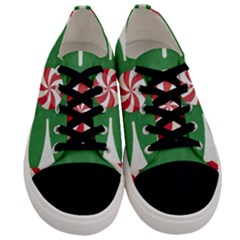 Candy Cane Kaleidoscope Men s Low Top Canvas Sneakers