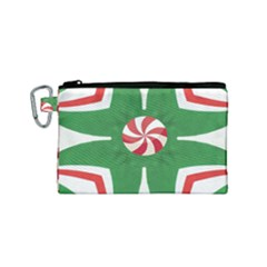 Candy Cane Kaleidoscope Canvas Cosmetic Bag (small) by Celenk