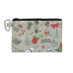 Beautiful Design Christmas Seamless Pattern Canvas Cosmetic Bag (medium)