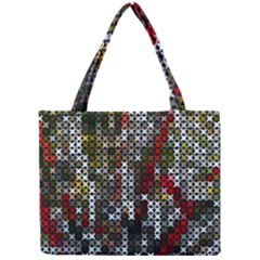 Christmas Cross Stitch Background Mini Tote Bag by Celenk