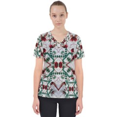 Christmas Paper Scrub Top by Celenk