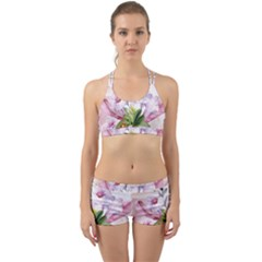 Wonderful Flowers, Soft Colors, Watercolor Back Web Sports Bra Set