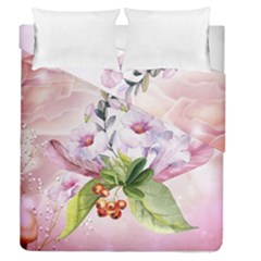 Wonderful Flowers, Soft Colors, Watercolor Duvet Cover Double Side (queen Size) by FantasyWorld7