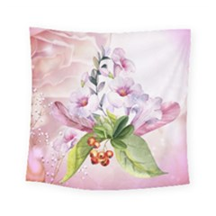 Wonderful Flowers, Soft Colors, Watercolor Square Tapestry (small) by FantasyWorld7