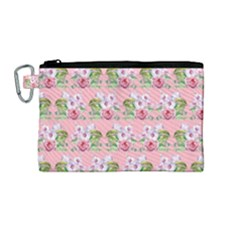 Floral Pattern Canvas Cosmetic Bag (medium) by SuperPatterns
