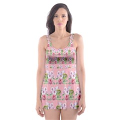 Floral Pattern Skater Dress Swimsuit by SuperPatterns