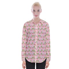 Floral Pattern Womens Long Sleeve Shirt by SuperPatterns