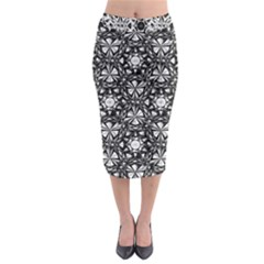 Star Crystal Black White 1 And 2 Midi Pencil Skirt by Cveti