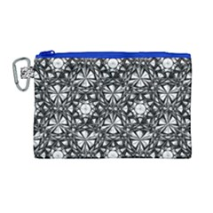 Star Crystal Black White 1 And 2 Canvas Cosmetic Bag (large) by Cveti