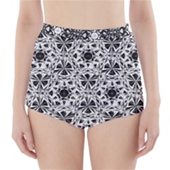 Star Crystal Black White 1 And 2 High Waisted Bikini Bottoms by Cveti