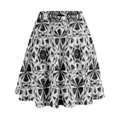 Star Crystal Black White 1 And 2 High Waist Skirt by Cveti