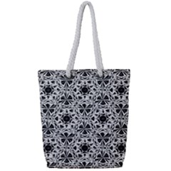 Star Crystal Black White 1 And 2 Full Print Rope Handle Bag (small) by Cveti