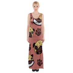 Happy Pugs Maxi Thigh Split Dress by allthingseveryday