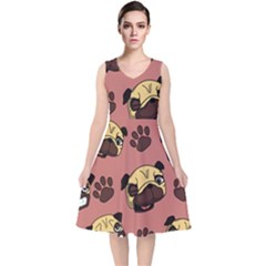 Happy Pugs V Neck Midi Sleeveless Dress