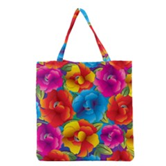 Neon Colored Floral Pattern Grocery Tote Bag by allthingseveryday