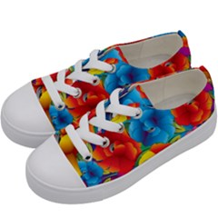 Neon Colored Floral Pattern Kids  Low Top Canvas Sneakers by allthingseveryday