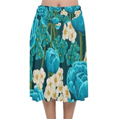 Light Blue Roses And Daisys Velvet Flared Midi Skirt by allthingseveryday