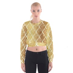 Vintage,gold,damask,floral,pattern,elegant,chic,beautiful,victorian,modern,trendy Cropped Sweatshirt by 8fugoso
