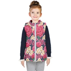 Pink Roses And Daisies Kid s Puffer Vest