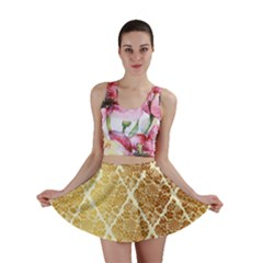 Vintage,gold,damask,floral,pattern,elegant,chic,beautiful,victorian,modern,trendy Mini Skirt