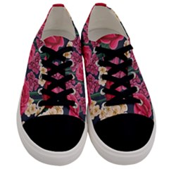 Pink Roses And Daisies Men s Low Top Canvas Sneakers
