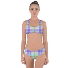 Blue And Yellow Plaid Criss Cross Bikini Set