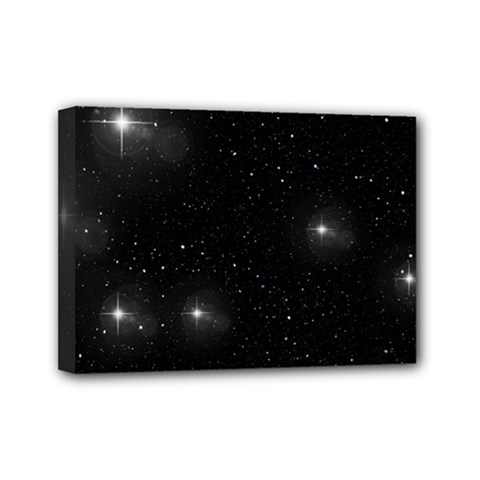 Starry Galaxy Night Black And White Stars Mini Canvas 7  X 5  by yoursparklingshop