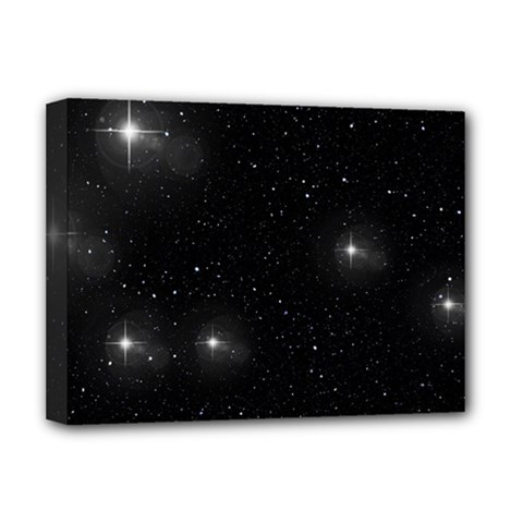 Starry Galaxy Night Black And White Stars Deluxe Canvas 16  X 12   by yoursparklingshop