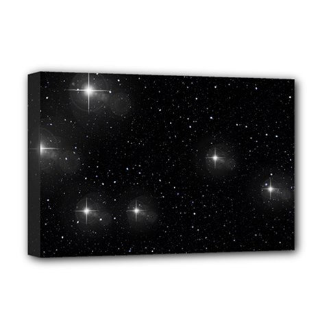 Starry Galaxy Night Black And White Stars Deluxe Canvas 18  X 12   by yoursparklingshop
