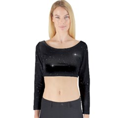 Starry Galaxy Night Black And White Stars Long Sleeve Crop Top by yoursparklingshop