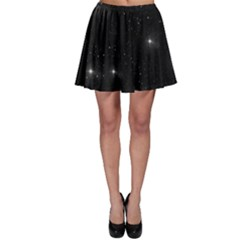 Starry Galaxy Night Black And White Stars Skater Skirt by yoursparklingshop