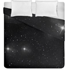 Starry Galaxy Night Black And White Stars Duvet Cover Double Side (king Size)