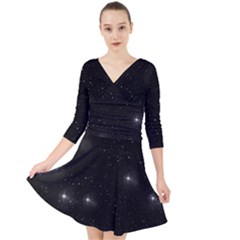 Starry Galaxy Night Black And White Stars Quarter Sleeve Front Wrap Dress