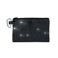 Starry Galaxy Night Black And White Stars Canvas Cosmetic Bag (small) by yoursparklingshop