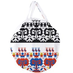 Bulgarian Folk Art Folk Art Giant Round Zipper Tote