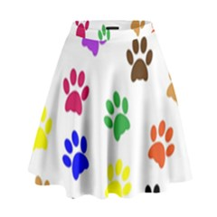 Pawprints Paw Prints Paw Animal High Waist Skirt