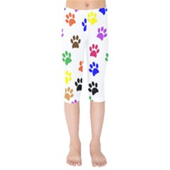 Pawprints Paw Prints Paw Animal Kids  Capri Leggings  by Celenk