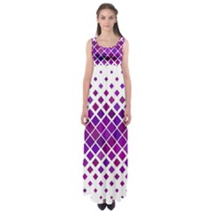 Pattern Square Purple Horizontal Empire Waist Maxi Dress