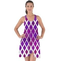 Pattern Square Purple Horizontal Show Some Back Chiffon Dress by Celenk
