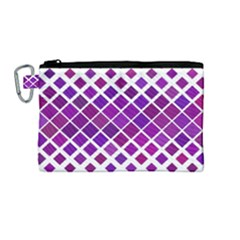 Pattern Square Purple Horizontal Canvas Cosmetic Bag (medium) by Celenk