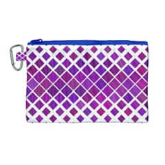 Pattern Square Purple Horizontal Canvas Cosmetic Bag (large) by Celenk