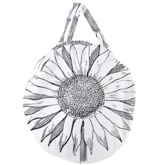 Sunflower Flower Line Art Summer Giant Round Zipper Tote